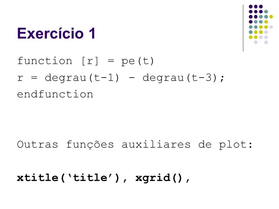 Exercício 1 function [r] = pe(t) r = degrau(t-1) - degrau(t-3);